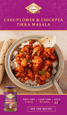 Try the delicious Cauliflower & Chickpea Tikka Masala recipe from Patak's. It's an easy meal with authentic Indian flavor. Tap the Pin to get the recipe. Cauliflower Recipes, Veggie Recipes, Indian Food Recipes, Italian Recipes, Chicken Recipes, Vegetarian Recipes, Dinner Recipes, Cooking Recipes, Healthy Recipes