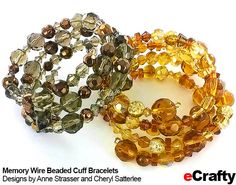 For an easy fashion statement bracelet, Memory Wire from eCrafty.com is the way to go. Look what Cheryl and Anne whipped up recently! Here are two Memory Wire bracelets that are sure to garner admi...