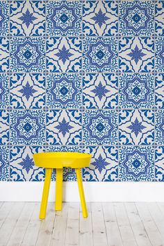Inspired by traditional Portuguese Azulejos tiles, this is a wallpaper we can definitely see on our walls.