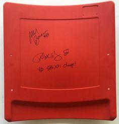 Phil McConkey & Mark Bavaro Signed NY Giants Stadium Seatback SB XXI Champs JSA