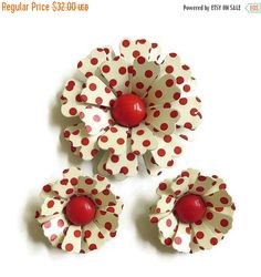 "This is a really fantastic Vintage Cream Enamel with Red Polka Dots Metal Flower Brooch & Earrings Set – Flower Power!   The Brooch measures slightly over 2 1/2"" high by 2 ... #teamlove #ecochic #vogueteam"