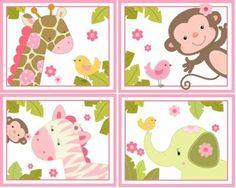 SET /4 JUNGLE JILL ANIMALS ART FOR CARTERS BEDDING NEW