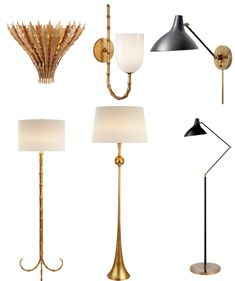 AERIN Lighting Collection Clockwise from top left: Hampton Sconce, Edgemere Sconce, Charlton Sconce, Charlton Floor Lamp, Dover Floor Lamp, Edgemere Floor Lamp}