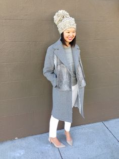 shades of grey: sandro magnifique coat, white madewell jeans, grey sweatshirt, stepcat bobble hat in oatmeal, and alexander wang nude kitten heels
