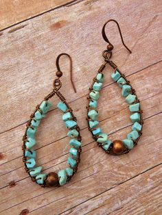 Light Blue Magnesite Stone Chip and Copper Earrings by Lammergeier, $22.00