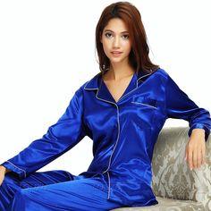 Womens Silk Satin Pajamas Pyjamas Set Sleepwear Loungewear S Plus Size - Suit Fashion Satin Sleepwear, Sleepwear & Loungewear, Satin Pyjama Set, Satin Pajamas, Sleepwear Women, Pajamas Women, Pyjamas, Pajama Set, Nightwear