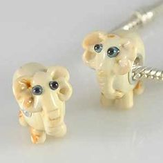 White Elephant Lampwork Glass Bead
