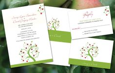 Apple Tree Invitation Set Invitation / Reply postcard on tango 100 lb. paper. Color scheme can be altered.  Apple Orchard weddings style.
