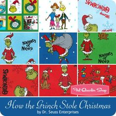 FAT QUARTER THE GRINCH STOLE CHRISTMAS FABRIC GRINCHMAS GATHERING ROBERT KAUFMAN