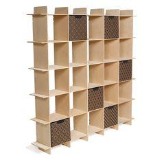 Sprout Kids 25 Cubby Mid Century Bookcase - Raw Baltic Birch - MyUrbanChild