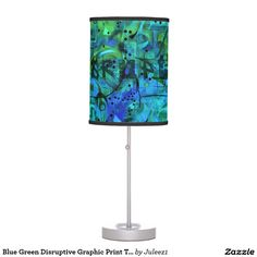 Blue Green Disruptive Graphic Print Table Lamp