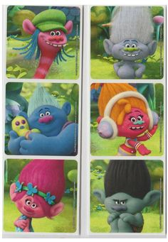 """30 Trolls Movie Stickers, Assorted 2.5""""X2.5"""" Each, Party Favors"""