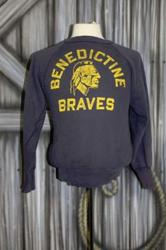 Vintage 50s Benedictine Braves Native American Indian Champion Sweatshirt s M | eBay
