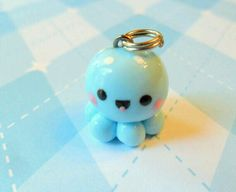 Kawaii Charm Blue Baby Octopus by JollyCharms on Etsy. Adorable little guy. Fimo Polymer Clay, Crea Fimo, Polymer Clay Animals, Polymer Clay Miniatures, Polymer Clay Projects, Polymer Clay Creations, Clay Crafts, Fimo Kawaii, Kawaii Crafts