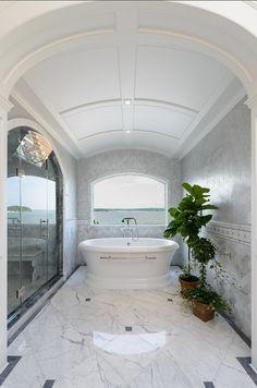 Bathroom. White Bathroom. Bathroom with white marble. #Bathroom #BathroomIdeas #MarbleBathroom