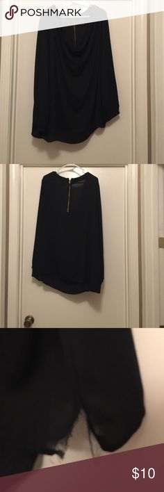 Black sheer top deep scoop neck, partial zip back 100% Polyester. Has a small tear on the bottom left side shown in 3rd picture. Only worn once. Has button sleeve detail. Lane Bryant Tops Blouses