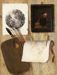 Jean-Francois de Le Motte:A trompe-l'oeil A palette with a spatula and paint brushes, an engraving, an oil painting, and a drawing with a pen and compass on a wooden partition