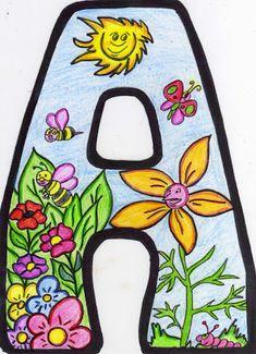 5 Alphabet Templates, Spring School, Alphabet Coloring Pages, Art Graphique, Letter Art, Printable Stickers, Spring Colors, Art Decor, Arts And Crafts