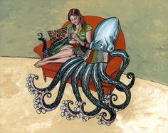 Laura Knitting with Octopus  Signed Art Print. $40.00, via Etsy.