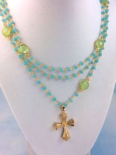 Aqua Chalcedony Rosary Necklace 18kt by divinitycollection on Etsy