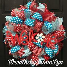 Everyday Wreaths available! Check them out and order yours!  https://www.etsy.com/listing/536082387/welcome-wreath-summer-wreath-red-white