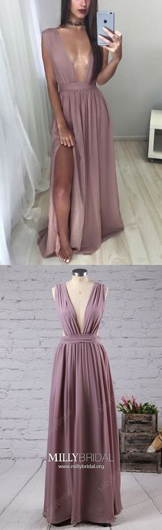 Long Prom Dresses,A-line Prom Dresses For Teens,Sexy Prom Dresses V-neck,Chiffon Prom Dresses Split Front,Simple Prom Dresses Sleeveless