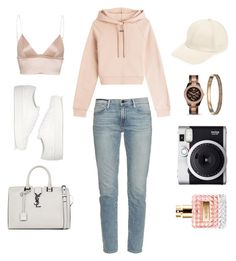 Plain by angeli-cn on Polyvore featuring Off-White, Frame Denim, Common Projects, Yves Saint Laurent, FOSSIL, David & Young, Valentino and Fuji