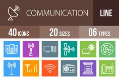 40 Communication Multicolor Icons by IconBunny on Creative Market