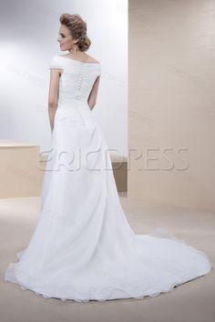 ericdress.com offers high quality   Elegant A-line Off-the-Shoulder Court Train Button Sleeveless Wedding Dress  Wedding Dresses 2014 unit price of $ 111.59.
