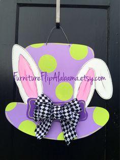 Easter bunny wooden door hanger,Easter wreath,Mad hatter Easter door hanger,bunny hat door hanger,Easter sign,ready to ship Easter hanger by Furnitureflipalabama on Etsy