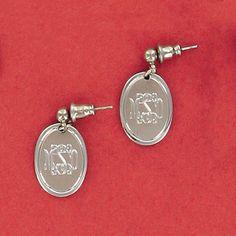 Engraved Oval Ball Post Earrings
