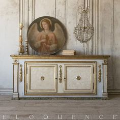 Eloquence® Antiques Painted Italian Sideboard: 1870 $9770.00 #thebellacottage #shabbychic Love French, French Country Style, Chandelier Lamp, Chandeliers, Lamps, Antique Paint, Old World Charm, Classic Furniture, Antique Shops