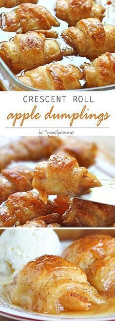 Roll Apple Dumplings by Sugar Apron and other great Thanksgiving dessert Recipes!Crescent Roll Apple Dumplings by Sugar Apron and other great Thanksgiving dessert Recipes! Crescent Roll Apple Dumplings, Crescent Roll Recipes, Apple Crescent Rolls, Easy Apple Dumplings, Stuffed Crescent Rolls, Crescent Roll Appetizers, Crescent Roll Breakfast, Pilsbury Crescent Recipes, Peach Dumplings