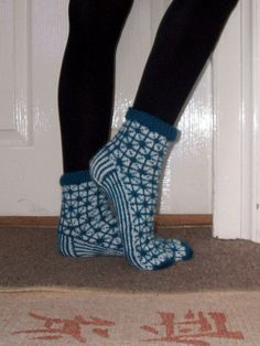 Hand-knitted Warm Blue White Winter Socks