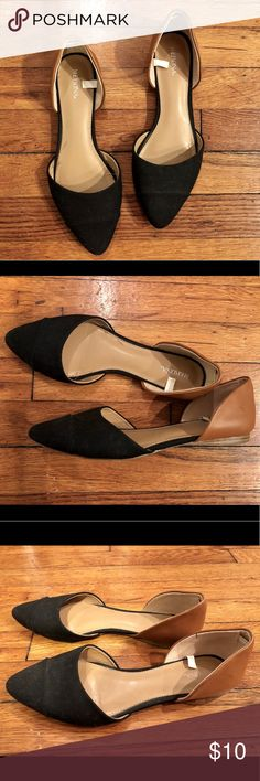 Merona Two-Toned Flats Black woven front w/ tan natural back. From Target. (Worn once!) Merona Shoes Flats & Loafers