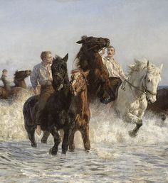 Lucy Kemp-Welch Detail: Horses bathing in the sea oil on canvas, National Gallery of Victoria, Melbourne Painted Horses, Horse Drawings, Art Drawings, Horse Posters, Horse Silhouette, Equine Art, Art Et Illustration, Historical Art, Horse Pictures