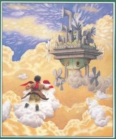 Feb. 5th: Illustrator-author David Wiesner, perhaps the most imaginative artist working in children's books today, was born on this day in 1957. This image is from his Caldecott Honor book Sector 7, a wordless book featuring a boy's visit to the factory...where clouds are made!