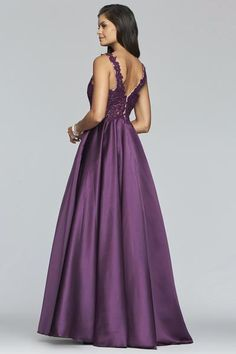 Faviana 10251 is a sleeveless long A-line satin ball gown with applique embellished bodice, V neckline front and back, and side pockets. Mermaid Prom Dresses Lace, Sherri Hill Prom Dresses, Cute Prom Dresses, Beautiful Prom Dresses, Prom Dresses Online, Satin Gown, Satin Dresses, Plum Colored Dresses, Plum Bridesmaid Dresses