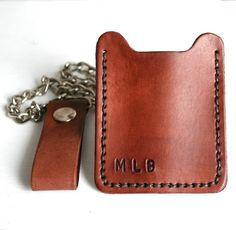 Flip Clip with chain. Personalized Mens dark by FatCatLeather, $59.00