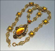 Amber Glass Gold Czech Art Deco Necklace Vauxhall Gilt Brass Art Deco Jewelry Vintage 1920s Jewelry.