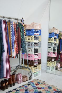 I've 'built up' an elegant and functional storage for my sneakers with colorful crates. The Ay-Kasa crates are foldable & stackabl. Room Ideas Bedroom, Home Bedroom, Bedroom Decor, Bedrooms, Pastel Room, Pastel Decor, Uni Room, Cute Room Decor, Room Goals