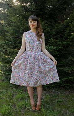 Vintage 1950s 50s Floral Flower Day Dress by forthebeloved on Etsy, $45.00