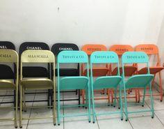 Cadeiras Personalizadas #tiffany #chanel #hermes  #industrialdesign #rebecaguerra #lata #decoração
