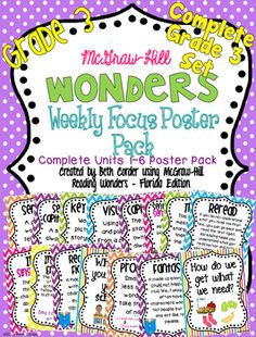 COMPLETE UNITS 1-6 SET oF THIRD GRADE Weekly Focus Poster Packs for the McGraw-Hill Wonders Series!