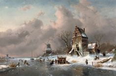 Artist : Charles Leickert (Dutch , 1816 - 1907)  Title : Winter Scene with Figures. Holländische Winterlandschaft. Description : Numerous skaters near a koek-en-zopie on a frozen waterway by a mansion. Date : 1892 Medium : oil on canvas Dimensions : 92 x 140 cm. Inscriptions : Signed and dated ; 'Ch Leickert:f 92' (lower right). Current location : Private collection.