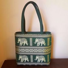 Elephant Purse Shoulder Bag Green Gold Embroidered Purchased in Thailand #Unbranded #ShoulderBag