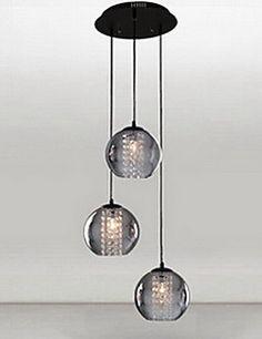 "12"" 3 Heads Pendant Light in Circle Plate 3 Lights Grey Tran... – GBP £ 233.59"