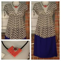 Express Design Studio sheer grey/purple pattern top M $9; Worthington royal blue lined skirt 8 $9; orange pendant necklace $12