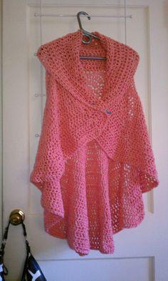 Coral Crochet Vest  Hand Crochet Circular Vest  by GiftedSista, $75.00