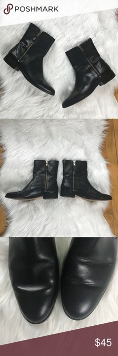 """Ann Taylor Leather Zipper Boots Has some wear on the heels and soles: shown in photos. Genuine leather lining and sole.   1.5"""" Heel height  8"""" total height  No trades  Bundle all of your likes for a private discount Ann Taylor Shoes Ankle Boots & Booties"""